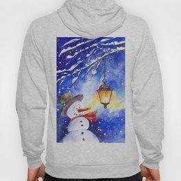 Watercolor snowman in Christmas winter night Hoody