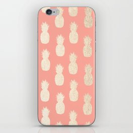 Gold Pineapples on Coral Pink iPhone Skin