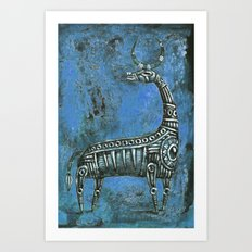 Antelope in Blue Art Print