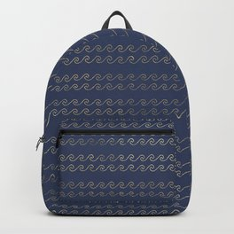 Elegant Abstract Gold Waves Pattern Backpack