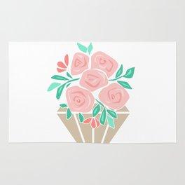 Roses in a vase rose Rug