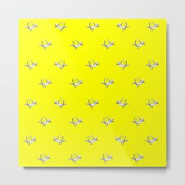 Hoop Diving - Pattern on Yellow Metal Print