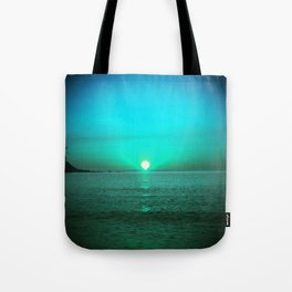 Cyan sunrise July morning at Irakli Bulgaria Tote Bag