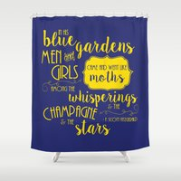 fitzgerald Shower Curtains featuring Blue Gardens by Megan Dignan