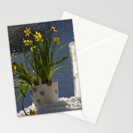 Polar Easter lilly flowers outside in a snow weather Stationery Cards