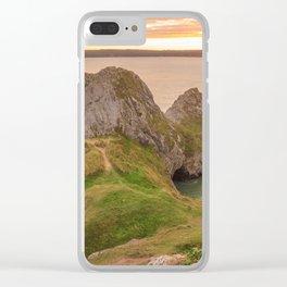 Three Cliffs Bay Beach Gower Sunset Clear iPhone Case