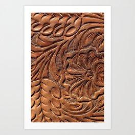 Vintage Worn Tooled Leather Kunstdrucke