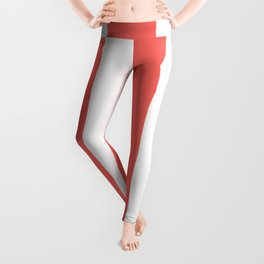 Wide Vertical Stripes - White and Pastel Red Leggings