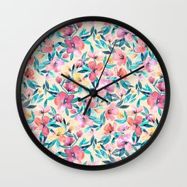 Peach Spring Floral in Watercolors Wall Clock