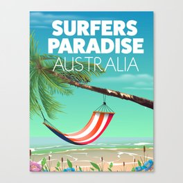 Surfers Paradise Australia beach travel poster. Canvas Print