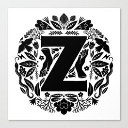 Letter Z monogram wildwood Canvas Print