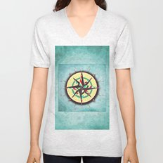 Striped Compass Rose Unisex V-Neck