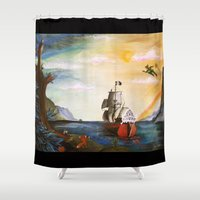 neverland Shower Curtains featuring Neverland by Art by Terrauh