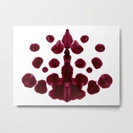 Burgundy Inkblot Pattern Rorschach Test Metal Print