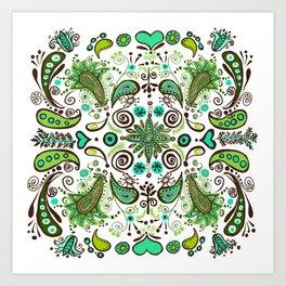 Chocolate Mint Paisley Art Print