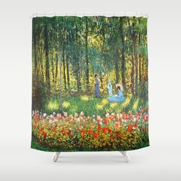 Claude Monet The Artist's Family In The Garden Shower Curtain