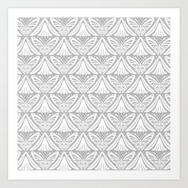 Butterfly and Flower Pattern Gray 2 Art Print