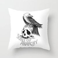 sons of anarchy Throw Pillows featuring Sons of Anarchy  by Christiano Mere