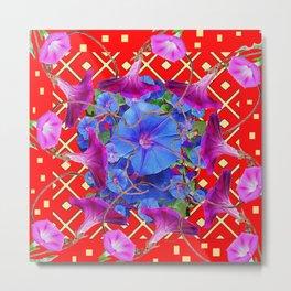 Bold Red Harmonious Purple-Blue Floral Art Metal Print