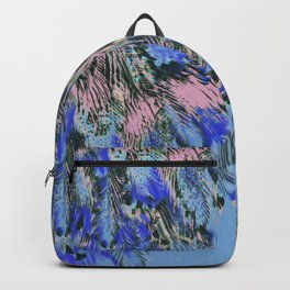feather texture in blue and light pink Backpack