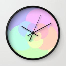 Flower Pastel Circles Wall Clock