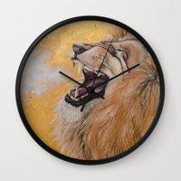 fierce Wall Clocks featuring Fierce by NicoleFaye