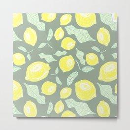 Freshy lemon fruit beautiful pattern on green backgroung Metal Print