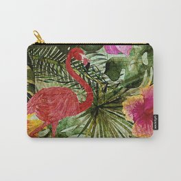 Tropical Vintage Exotic Jungle- Floral and Flamingo watercolor pattern Carry-All Pouch