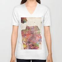 san francisco V-neck T-shirts featuring San Francisco map by MapMapMaps.Watercolors