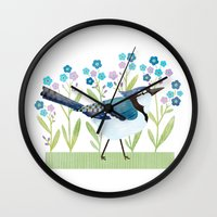 jay fleck Wall Clocks featuring Blue Jay by Stephanie Fizer Coleman