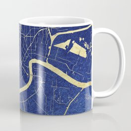 New Orleans Blue and Gold Map Coffee Mug