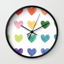 Watercolour hearts Wall Clock