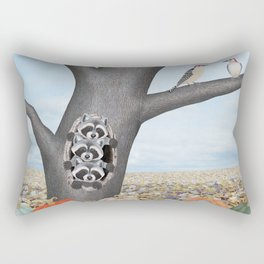 red bellied woodpeckers, heirloom pumpkins, and raccoons in a tree Rectangular Pillow