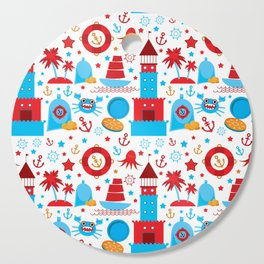 pattern with sea icons on white background. Seamless pattern. Red and blue Cutting Board