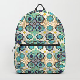Marrakesh gold and blue geometry inspiration Backpack