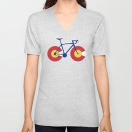 Colorado Flag Bicycle Unisex V-Neck
