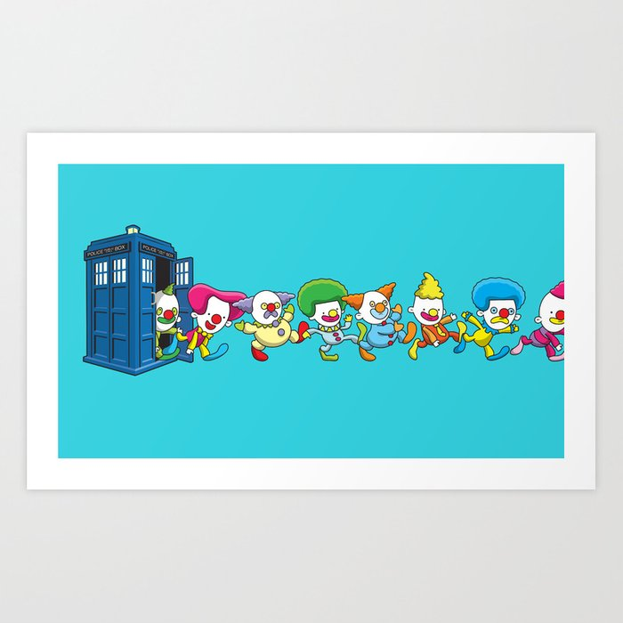 Clown Tardis Art Print