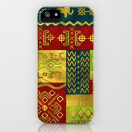 Ethnic African Golden Pattern on color iPhone Case