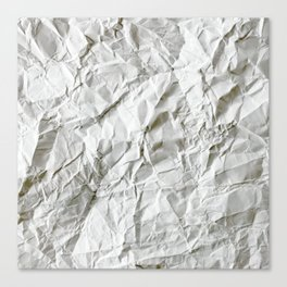 CRUMPLED WRINKLED WHITE PAPER I Canvas Print