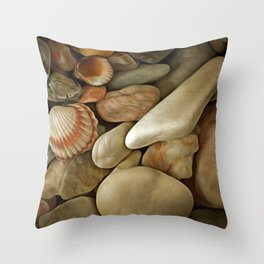 Sea Pebbles With Shells Throw Pillow