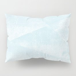 Light Blue and White Geometric Triangles Lino-Textured Print Pillow Sham
