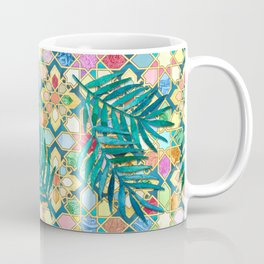 Gilded Moroccan Mosaic Tiles with Palm Leaves Coffee Mug