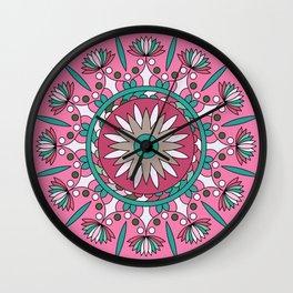 Mandala No2, Colorful Abstract Flower Wall Clock