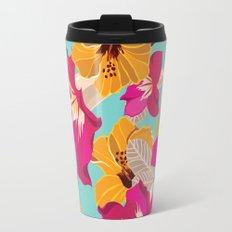 Tropical Flowers Pattern Pastel Colors Travel Mug