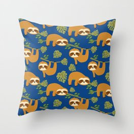 Cute Sloths on Blue, Baby Sloth Hanging Throw Pillow