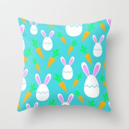 Happy Bunnies & Carrots | Easter Bunny | Easter Egg Bunny | pulps of wood Throw Pillow