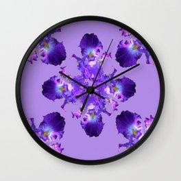 Purple Iris Abstract  Collage Art Wall Clock