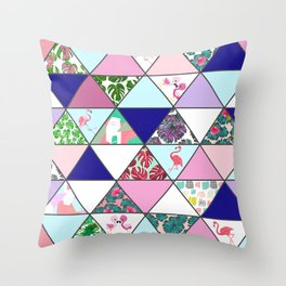 Geometrical Abstract Pink Teal Tropical Flamingo Floral Throw Pillow