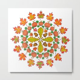 Autumn Mandala Metal Print