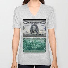 1918 $500 Federal Reserve Marshall Bank Note Unisex V-Neck